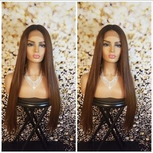 Human Blend Lace wig Black Brown Auburn